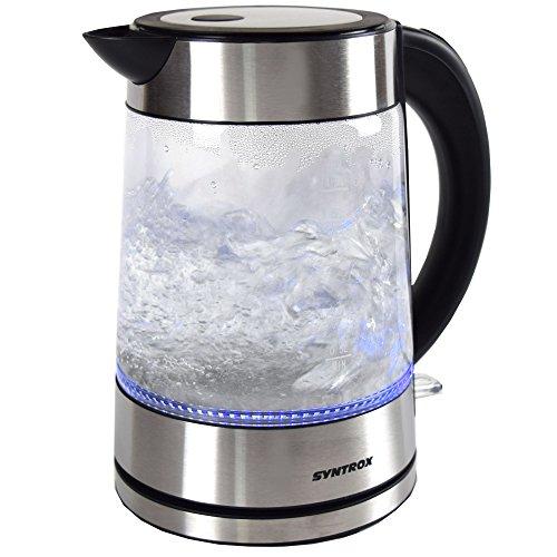 Syntrox Germany WK-2000W-1.7G Lago 2000 Watt 1,7 Liter Edelstahl schnurlos Glas Wasserkocher mit blauem LED Licht 360° cordess Wasserkessel Teekessel