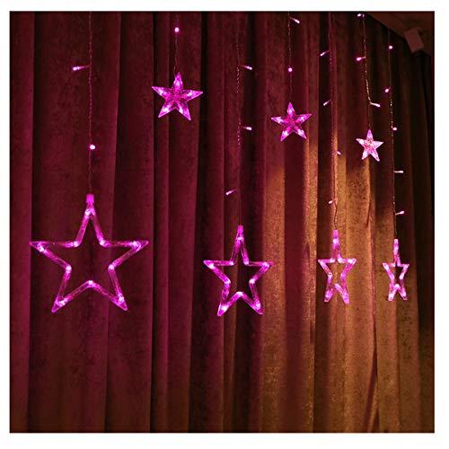 SXJJQAQ LED lichtketting kerstbruiloft decoratie achtergrondverlichting sterren gordijn lichten, roze