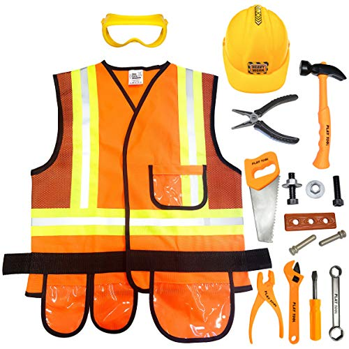 Kids Construction Worker Costume with Hard Hat & Toys Tool Set - Real Vest Dress Costumes for Toddler, Boys & Girls By Kids Party Kingdom - 4 to 7 year old - Play Clothes for Kid Builder