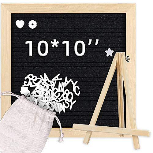 Bacheca in feltro con cornice in legno, 25 x 25 cm, personalizzabile per messaggi, lavagna in feltro nero con supporto per lettere, montaggio a parete o espositore