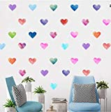 Colorido 15Pcs / Set Corazón Diy Etiqueta De La Pared Acuarela Dormitorio Niños Habitación Mural Calcomanías Armario Nevera Decoración