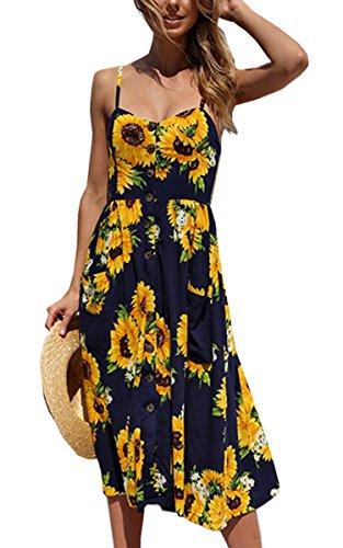 Angashion Women's Dresses-Summer Floral Bohemian Spaghetti Strap Button Down Swing Midi Dress with Pockets Navy Blue 2XL