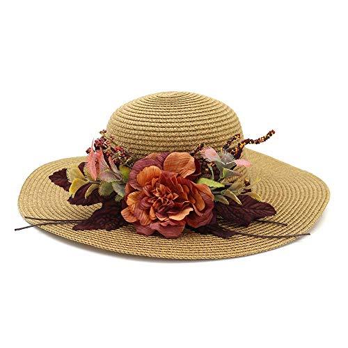 Sonnenhüte für Damen,Strohhüte für Frauen, Sonnenhüte, Sonnenschutzblumen im Freien, Seehüte, Hüte mit breiter Krempe, Strandhüte, Khaki in Einheitsgröße