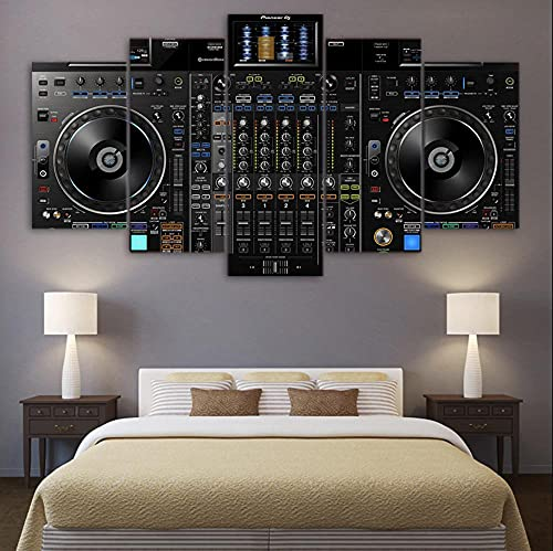 QQWW 5 Piezas Cuadro sobre Lienzo De FotosDJ Music Player Mixer Cool Fun Fiesta Lienzo Impresión Cuadros Decoracion Salon Grandes Cuadros para Dormitorios Modernos Mural Pared Listo para Colgar