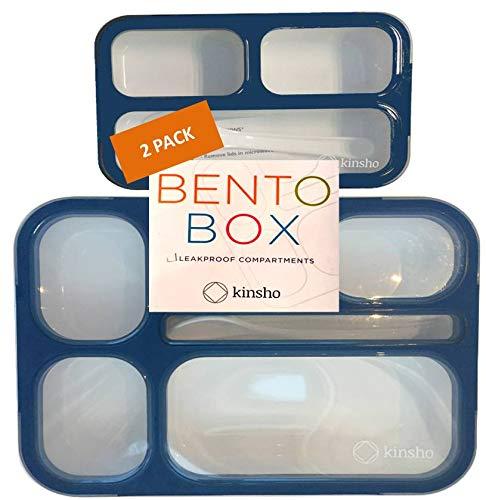 Kinsho Kinder Bento Lunch-Box und Snack-Container-Set | Leak-Proof Lunch-Boxes + Container Für Snacks | Jungen Teens Erwachsene | Bpa Kostenlose | Zubehör 2 Navy Blau & Mini