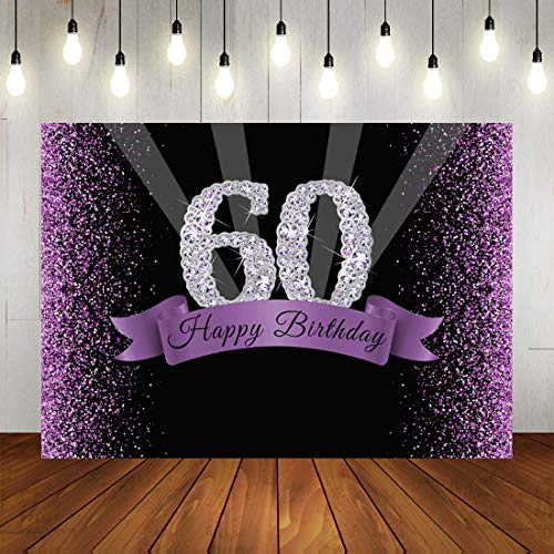 Purple 60th Birthday Backdrop Shiny Glitter Black Dots and Diamond Number Party Photography Background Happy Sixty Years Old Party Decorations Photo Booth Props 7x5ft
