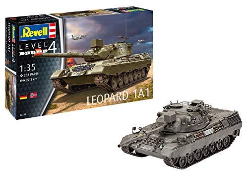 Revell 03258 Panzermodellbausatz Leopard 1A1 im Maßstab 1:35, 27,3cm Spielzeug originalgetreuer Modellbausatz für Fortgeschrittene, unlackiert
