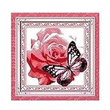 Pintura Digital Kit De Punto De Cruz De Flores Y Mariposas Flor 18Ct 14Ct 11Ct Cuenta Lienzo Impreso Costura Bordado DIY Costura Hecha A Mano-11Ct Lienzo Sin Imprimir