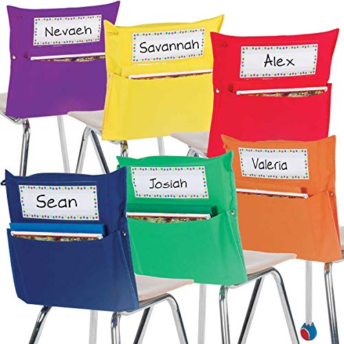 Really Good Stuff Store More Grouping Chair Pockets – Set of 12 - Six Bright Rainbow Colors – Pocket Chair Organizer Keeps Students Organized and Classrooms Neat