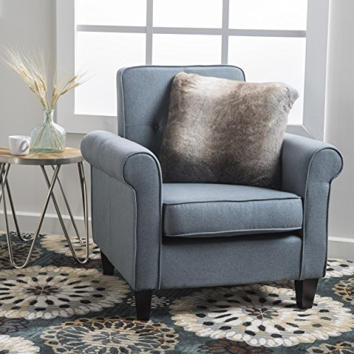 Christopher Knight Home Isaac Tufted Fabric Club Chair, Blue Grey