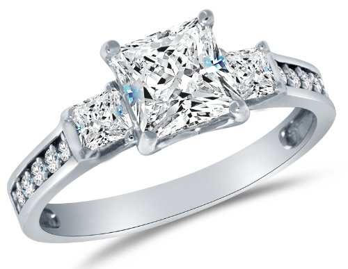 Size 10 - Solid 925 Sterling Silver CZ Cubic Zirconia 3 Three Stone Engagement Ring - Princess Cut Solitaire with Round Side Stones (1.75cttw., 1.5ct. Center) - With Elegant Ring Box