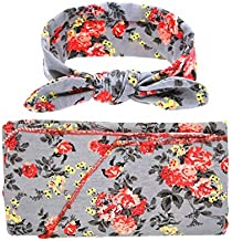 Newborn Receiving Blanket Headband Set Flower Print Baby Swaddle Receiving Blankets Floral Printed Baby Gift Set Grey Flower