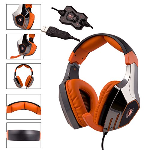 Sades A60 7.1 Surround Sound Stereo PC Pro USB Gaming Headsets Over-ear Headphones with Microphone for PC and Mac(Orange)