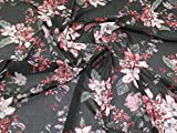 Minerva Crafts Stretch-Netzstoff, Pink auf Grau, Meterware
