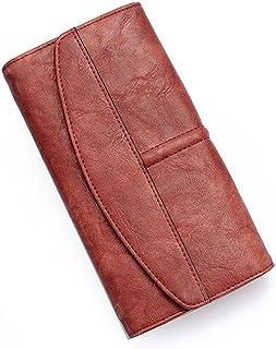 GUMAOPAJIAAAqb Monederos de Mujer, Vintage Trifold Wallet Women Long PU Leather Wallet Female Clutch Purse Hasp Female Pho...