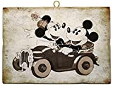 KUSTOM ART Cuadro de estilo vintage serie cómics Mickey & Mickey Mouse en coche – Minnie & Mickey Mouse in Car de colección, impresión sobre madera
