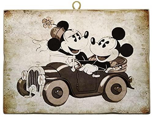 KUSTOM ART Cuadro de estilo vintage de la serie Cómics Mickey y Mickey Mouse en coche - Minnie & Mickey Mouse en Car de colección, impresión sobre madera