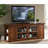 BOWERY HILL 62' TV Stand Console Solid Wood and Glass Storage in Burnished Oak Finish