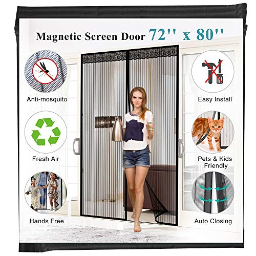 """72""""(w) x 80""""(h) Hands Free Magnetic Screen Door for Sliding French Doors, Full Frame Double Door Velcro Bug Screen Mesh Curtain Keep Bugs Mosquitos Out,Black"""