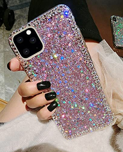 Accgoal for iPhone 11 Pro Max Case,for iPhone 11 Pro Max Glitter Sparkle Bling Case for Girly Women,Rhinestone Bumper Protective Cover for Apple iPhone 11 Pro Max (A-01)