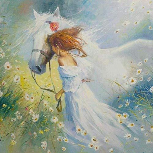 DIY Ölgemälde von mbers Kits Thema Digitales Gemälde Mädchen und weißes Pferd in Blumen Leinwand Geschenk für Erwachsene Kinder Geburtstag Hochzeit Neue Unterkunft oder Weihnachtsd-40x50cm-Frameless
