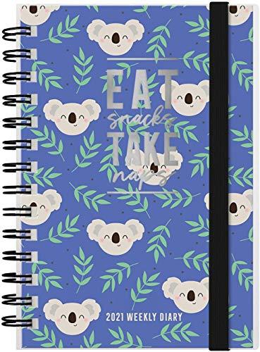 AGENDA SPIRALATA 2020 12 MESI Settimanale 9x13 cm Small CON ELASTICO LEGAMI Eat Snacks Take Naps Koala + omaggio penna + omaggio segnalibro