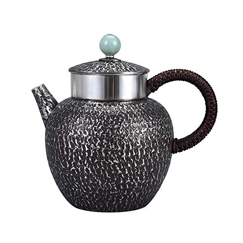 Lierru Sterling Silver 999 Antique Silver Teapot Single Pot Household Silver Teapot Kung Fu Tea Ceremony Tea Set