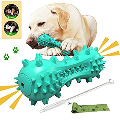 KAQ Dog Toothbrush Chew Toys, Durable Dog Bites Stick, Upgraded Squeaky Dog Chew Toy, Natural Rubber Indestructible Chew Stick, Dental Oral Care for Medium and Large Dog's Teeth Cleaning