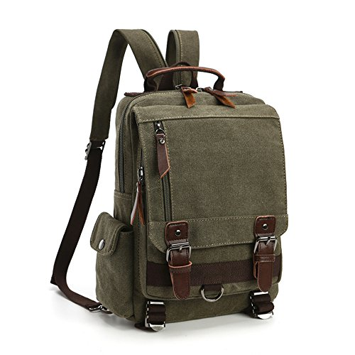 LOSMILE Zaino Uomo donne Zaini Tela Zainetto Borsa a Tracolla Borsa di Tela Sacchetto del Messaggero Sacchetto di Messenger bag Backpack. (Army Green)