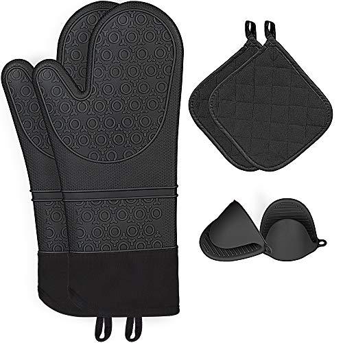 KIYA Topfhandschuhe 6er-Set, 2 Extra Lange Silikonofenhandschuhe & 2 Mini Silikonhandschuhe & 2 Baumwolle Topflappen - Hitzebeständig, Wasserfest, leicht zu reinigen (schwarz)