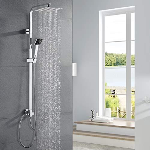 WOOHSE Duschsystem ohne Armatur, Duschkopf aus 304 Edelstahl Regendusche mit Wandhalterung, Dusche Duscharmatur Duschset inkl.verstellbare Duschstange Handbrause, Lebenslange Garantie