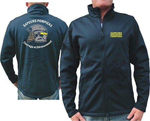 feuer1 SmartSoftshell (Navy/Bleu Marine) Sapeurs Pompiers Casque - Courage et Dévouement - Marque Jaune L bleu marine