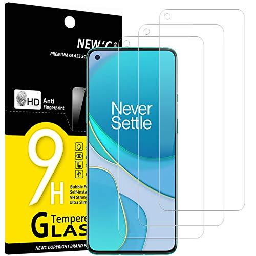 NEW'C 3 Unidades, Protector de Pantalla para OnePlus 9, Antiarañazos, Antihuellas, Sin Burbujas, Dureza 9H, 0.33 mm Ultra Transparente, Vidrio Templado Ultra Resistente