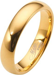 MJ Metals Jewelry 2, 3, 4, 5, 6, 8 or 10mm Gold Plated Polished Tungsten Carbide Wedding Ring Classic Half Dome Band
