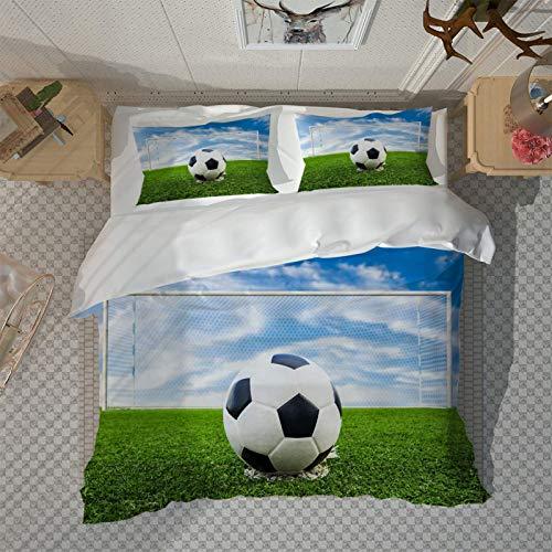 HKDGHTHJ Edredón infantil Imagen creativa 3D Campo de fútbol de hierba verde 200 x 200 CM Funda de edredón con estampado de moda con cremallera, funda de edredón, funda de edredón para niños, ropa de