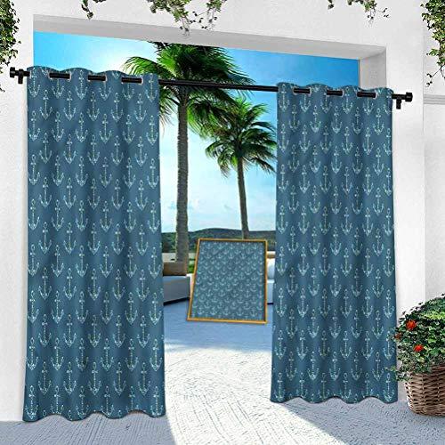 Paneles de cortina al aire libre, ancla, anclajes estilizados, 84 pulgadas de largo al aire libre cortinas impermeables para cubierta trasera/Lanai/porche/choza de piscina (1 panel)
