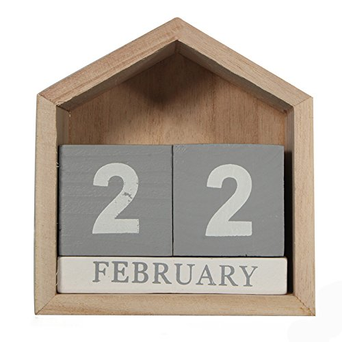TOOGOO Calendario perpetuo de forma de casa de diseno vintage Bloque de madera escritorio de madera Suministros de oficina casa Artesania decoracion