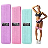 Hurdilen Resistance Bands Loop Exercise Bands,Workout Bands Hip Bands Wide Resistance Bands Hip Resistance Band for Legs and Butt,Activate Glutes and Thigh (Pink,Green,Purple)