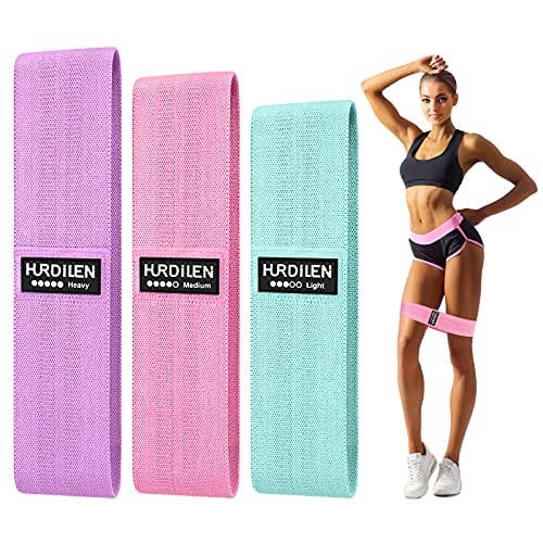 Hurdilen Resistance Bands Loop Exercise Bands Workout Bands Hip Bands Wide Resistance Bands Hip Resistance Band for Legs and Butt Activate Glutes and Thigh (Pink Green Purple)