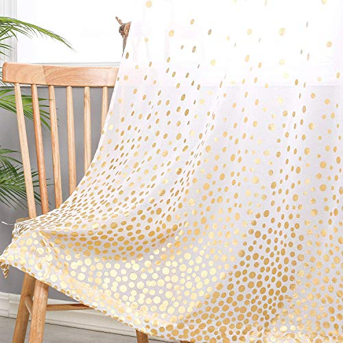 Hiasan Polka Dots Foil Printed Sheer Curtains for Living Room - Faux Linen Grommet Voile Confetti Window Curtains for Bedroom and Kids Room, 52 x 84 Inch Long, Gold, Set of 2 Curtain Panels