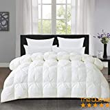 The OutNeT White Luxurious Pin Tuck-Pinch Pleat Comforter- Twin Size 68 x 86 Inches 1 Piece All-Season Duvet Insert, 500 GSM with Corner Tabs 100% Egyptian Cotton- Hypoallergenic- Hotel Collection