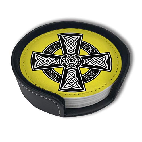 HBLSHISHUAIGE Celtic Cross Knot Irish Coasters with Holder Set,Round Mugs and Cups Mat Pad for Drinks,Suitable for Home and Kitchen(6PCS)