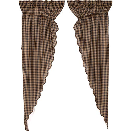 VHC Brands Black Check Scalloped Prairie Long Panel Set of 2 84x36x18 Country Curtains, Black and Tan