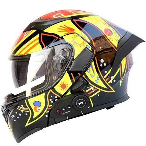 SJAPEX Bluetooth Integrado Casco de Moto Modular con Doble Visera Cascos de Motocicleta a Prueba de Viento ECE Homologado para Adultos Hombres Mujeres F,M=57~58cm