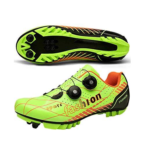 KUXUAN Calzado De Ciclismo MTB para Hombre - Carreteras Unisex Calzado Profesional Transpirable con Bloqueo Automático Ligero,Green-EU41