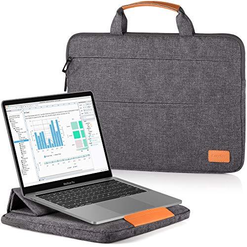 EasyAcc 13-13,3 Pollici Custodia Borsa PC Laptop Computer Portatile con Funzione Supporto Adattabile per MacBook Air Notebook Ultrabook Chromebook Acer ASUS Dell Surface Pro Grigio Scuro