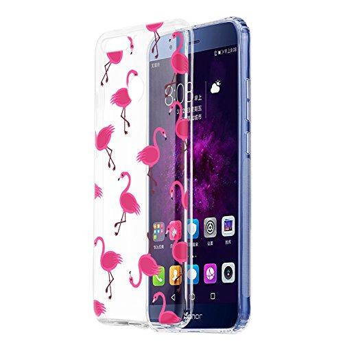 Cover Honor 9 Lite, Eouine Custodia Cover Silicone Trasparente con Disegni, Ultra Slim Antiurto Morbido 3d Cartoon Bumper Case Protettiva per Huawei Honor 9 Lite Smartphone (Fenicotteri)