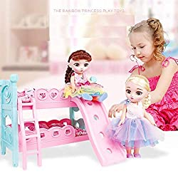 Girls are sure to love having their dolls interact with Doll Bunk Bed set. Doll's bunk beds features pretty pink design and also includes the ladder that helps dolls reach the top bunk! Accommodates dolls up to 10-12 Inch tall. Random Doll one suppli...