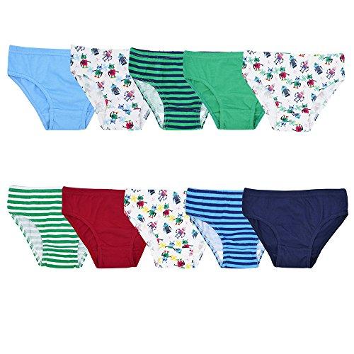 10er Pack Jungen Slips | Kinder Unterhosen Gr. 92-128 122-128 / Mehrfarbig