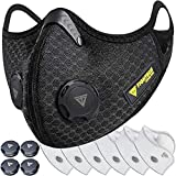FIGHTECH Anti Pollution Dust Mask with Carbon Filters for Pollution Pollen Allergy Woodworking Mowing | Washable and Reusable Mesh Half Face Mask (Large, Black)